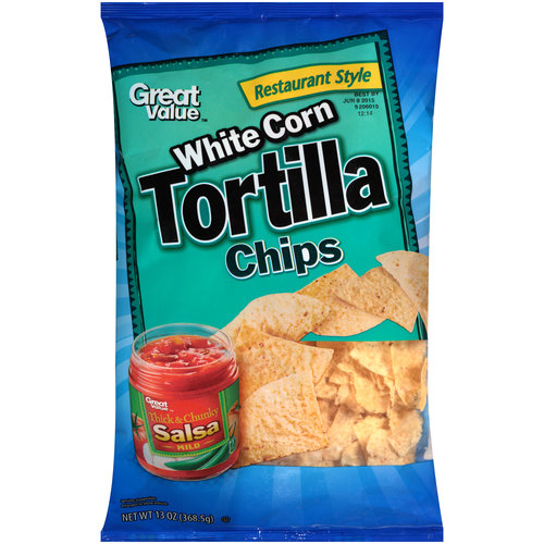 Great Value Restaurant Style White Corn Tortilla Chips, 13 oz