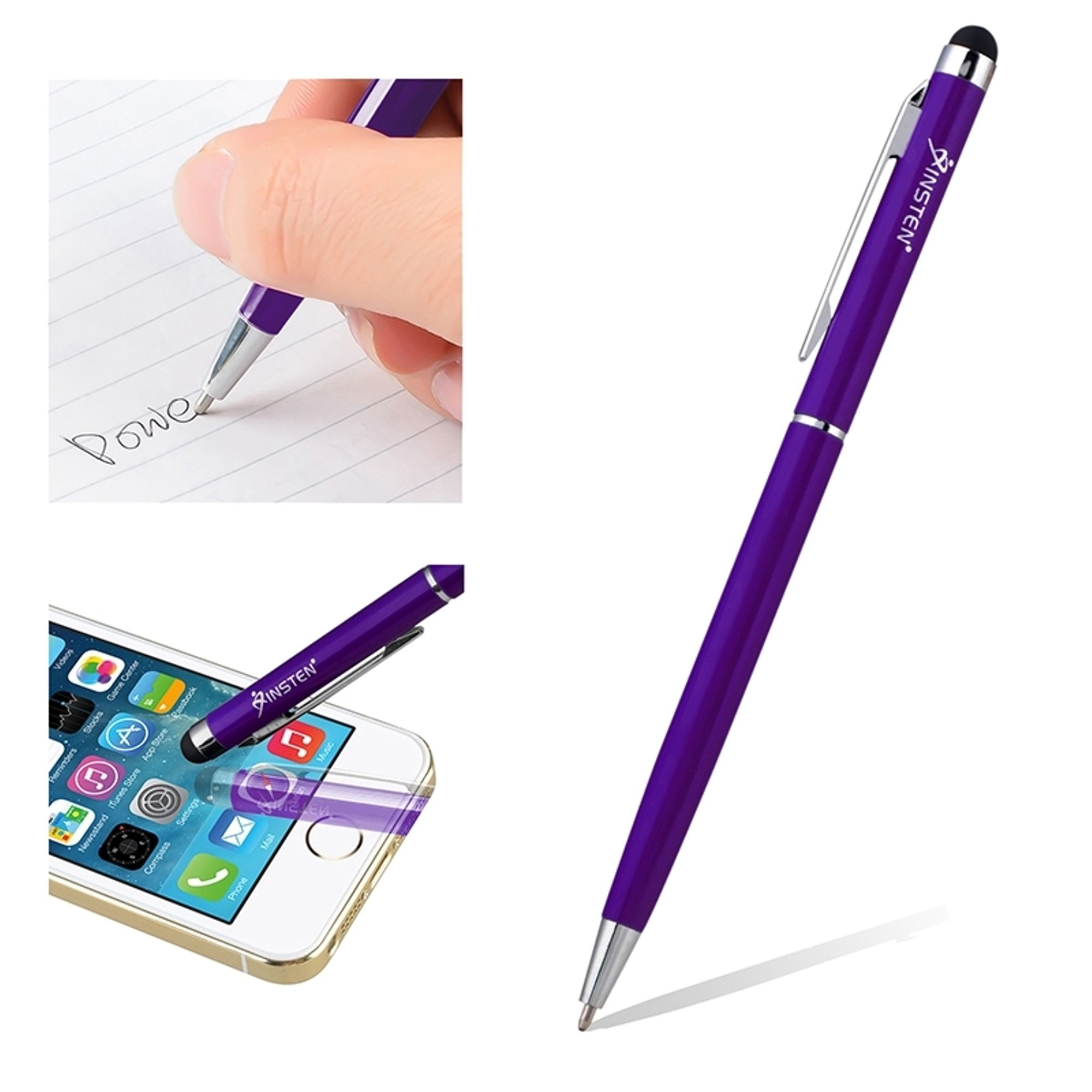 Insten Universal Purple 2in1 Capacitive Touch Screen Stylus with Ball Point Pen For Mobile Cell Phone iPhone XS XR XS Max X 8 7 6 Plus SE 5s iPad Air Pro Mini Tablet iPod Samsung Galaxy 4 S9 S9+