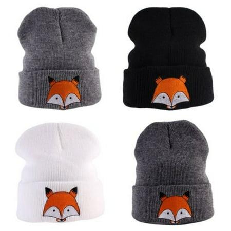 Cute Baby Toddler Kids Boys Girls Knitted Crochet Fox Beanie Winter Warm Hat - Toddler Boy Cowboy Hat