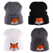 Cute Baby Toddler Kids Boys Girls Knitted Crochet Fox Beanie Winter Warm Hat Cap