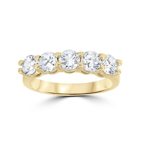 2 ct Real Diamond Wedding Ring 14k Yellow Gold 5-Stone Womens Anniversary Band