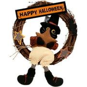 "17"" Halloween Black Cat Rattan Wreath Halloween Decoration"