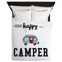 CafePress - Happy Camper - Queen Duvet Microfiber