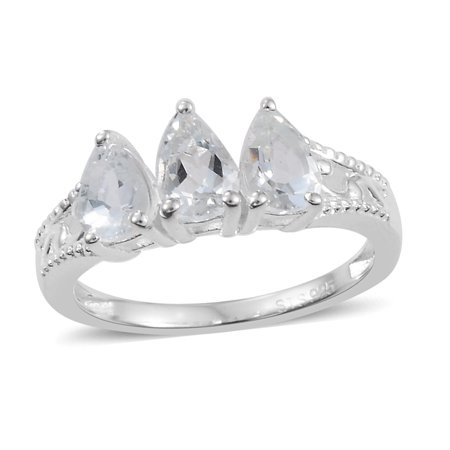 - Statement Ring 925 Sterling Silver Pear Goshenite Ct 0.8