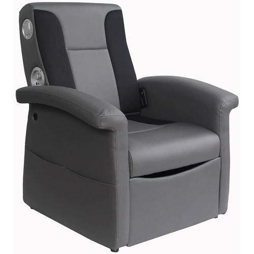 X Rocker Triple Flip 2.1 Storage Ottoman Sound Chair, Black/Gray, 0717901