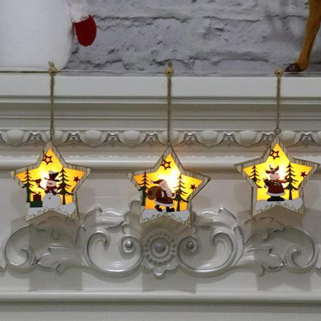Juslike  LED Lights Night Lights Christmas Tree Ornaments Decorations Christmas Tree Wood Illuminated Decoration Creative Pendant ()