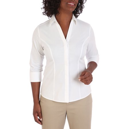 17e71896 Lee Riders - Women's 3/4 Sleeve Classic Career Shirt - Walmart.com