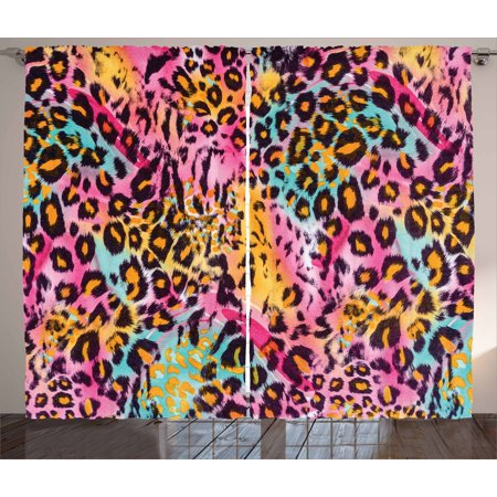 Leopard Print Curtains 2 Panels Set, Mottled Exotic Panthera Skin Pattern Colorful Camouflage Style Safari Theme, Window Drapes for Living Room Bedroom, 108W X 96L Inches, Multicolor, by - Camouflage Theme