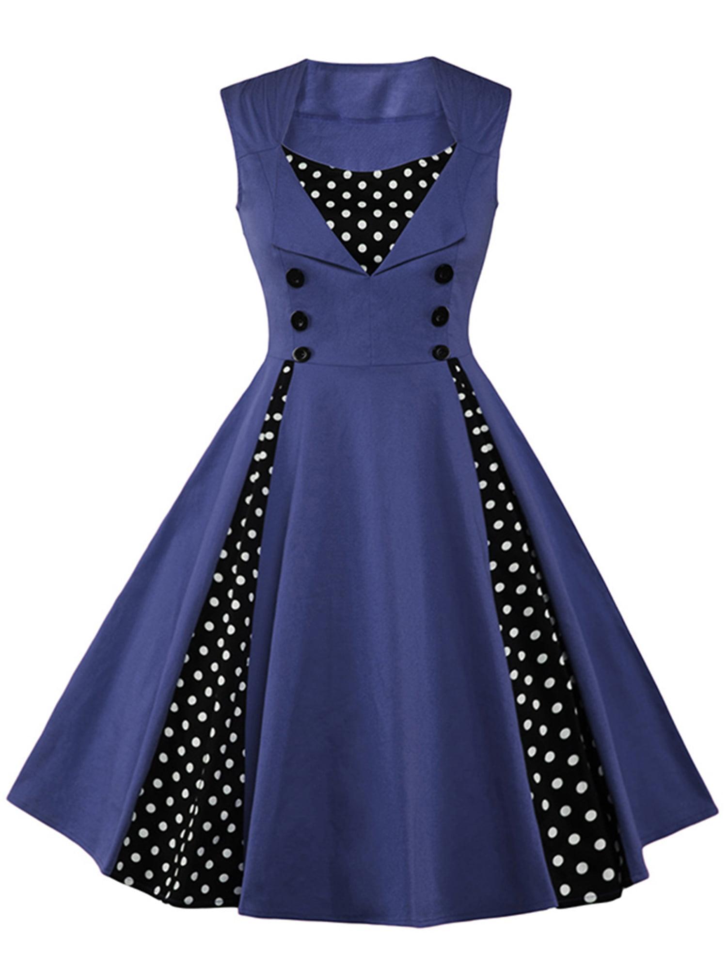 Womens Vintage 1950s Style Dress Swing Polka Dot Boat Neck Strappy Formal Cocktail Grown Dresses Transer
