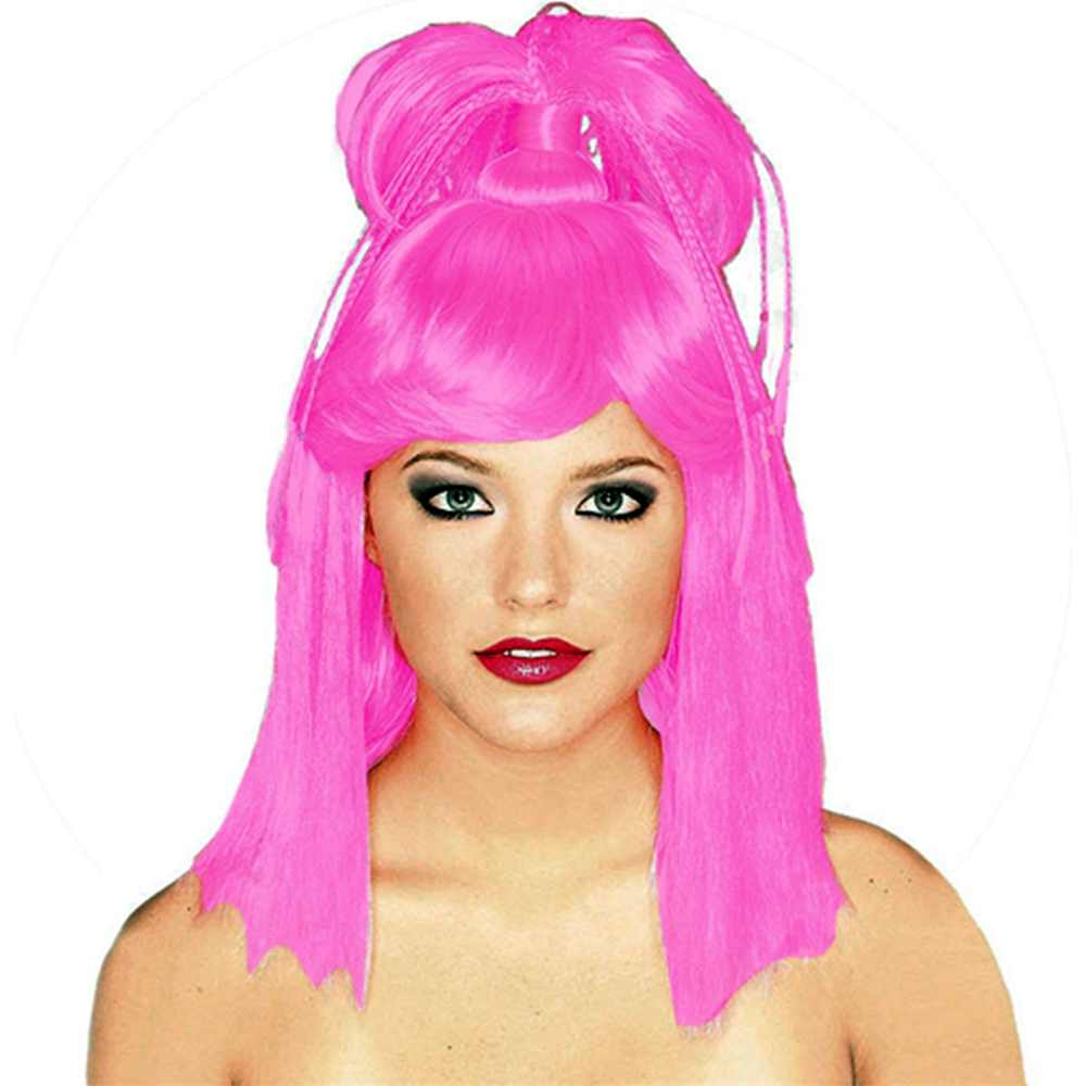 Adult Womens Bright Pink Genie Costume Ponytail Wig  sc 1 st  Walmart.com : womens genie costumes  - Germanpascual.Com