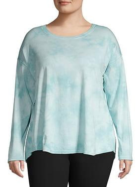 CALVIN KLEIN Womens Navy Tie Dye Long Sleeve Scoop Neck Active Wear Top Plus  Size: 3X