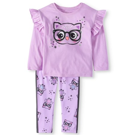 Long Sleeve Ruffle Shirt & Printed Tape Leggings, 2pc Outfit Set (Toddler Girls) for $<!---->