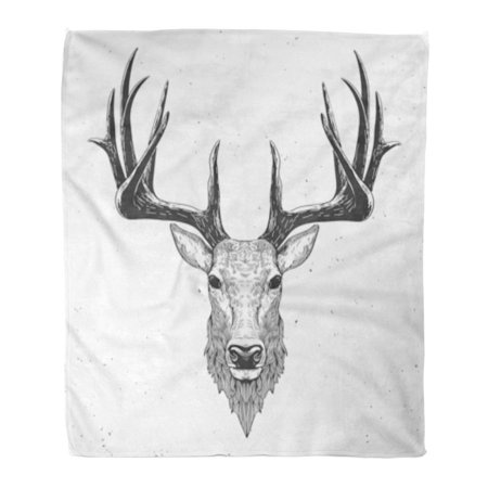 ASHLEIGH Flannel Throw Blanket Reindeer Deer Head on White Hand Drawn Vintage Stag Sketch Draw Christmas Ink 58x80 Inch Lightweight Cozy Plush Fluffy Warm Fuzzy Soft