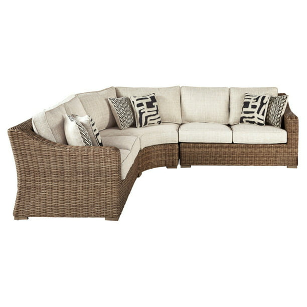 Signature Design By Ashley Beachcroft, Patio Furniture 3 Piece Sectional Sofa Resin Wicker Beige