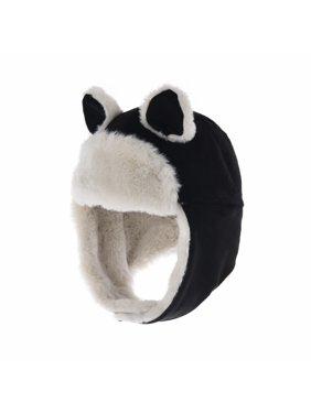 WITHMOONS Infant Baby Winter Earflap Cap Beanie Toddler Bear Hat CCJ873 (Black)