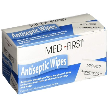 Medi-First Antiseptic Wipes, Benzalkonium Chloride Cleansing Towelettes, 20 Pack - 21471 - 20 Wipes Benzalkonium Chloride Antiseptic Towelette