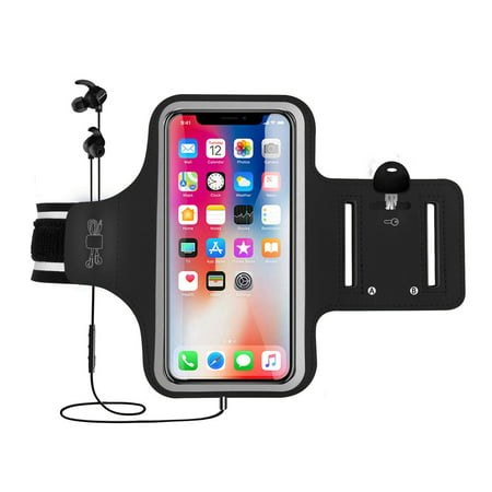 Arm Band, EEEKit Universal Sports Fitness Armband Phone Case Pouch with Reflective Strip & Key Holder for iPhone Xs Max X 8 7, Galaxy S10 S10 Plus S10E S9 S8 S7 Edge - Running, Gym, Outdoor, Workout (Armband Band)