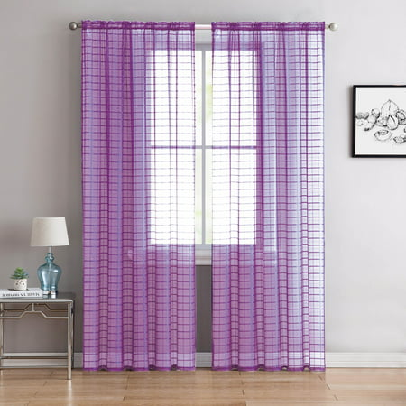 "Single (1) Sheer Rod Pocket Window Curtain Panel: 55""W X 90""L, Plaid/Check Design (Soft Lilac/Purple)"