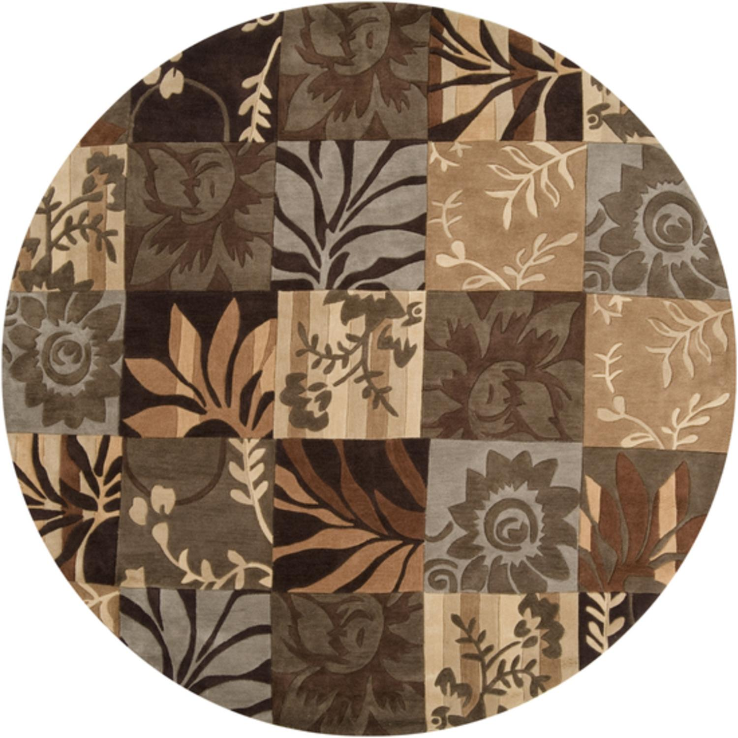 8' Botanical Menagerie Tan & Brown Hand Tufted Plush Pile Round Area Throw Rug