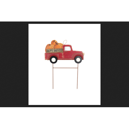 Celebrations Happy Harvest/Truck w/Pumpkins 24.02 in. H x 1.18 in. W x 18.7 in. L 1 pk Yard Stake