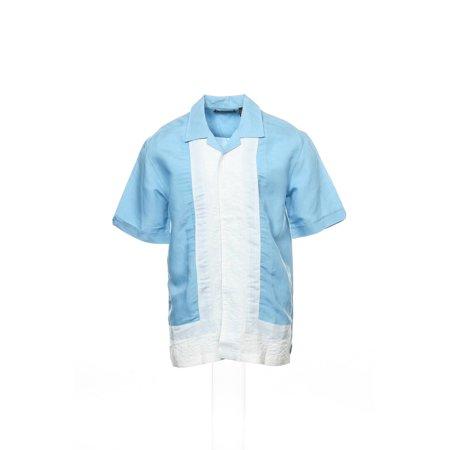 Cubavera Men's Light Blue Color Block Camp Shirt