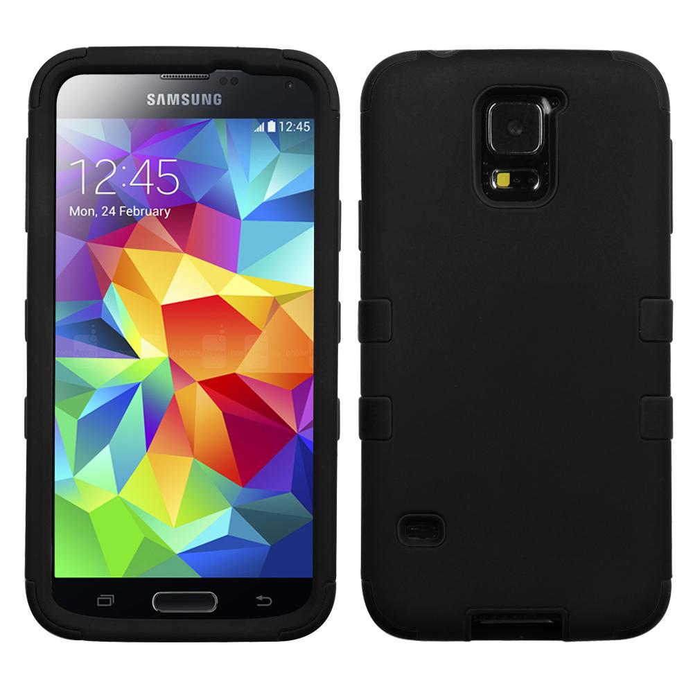 Samsung Galaxy S5 TUFF Hybrid Phone Protector Cover, Rubberized Black/Black