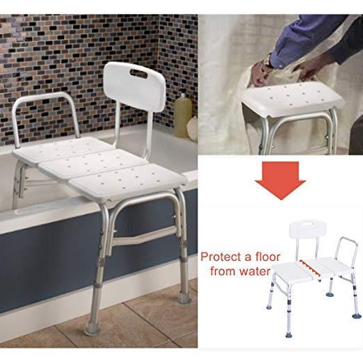 Ktaxon Bath Chiar Plastic Tub Transfer Bench with Adjustable Backrest White