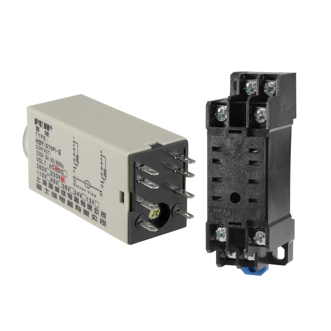 220VAC 60S 8 Terminals Range Adjustable Delay Timer Time Relay H3Y-2 w base - image 4 of 6