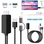 Micro USB / USB C to HDMI Cable 6.6ft, MHL to HDMI - Micro USB Type C to HDMI Converter, 1080P HD HDTV Mirroring Cable for Android Smart Phones & MacBook - MHL Micro USB to HDMI Cable Adapter (Black)