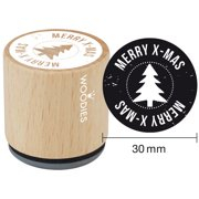 """Woodies Mounted Rubber Stamp 1.35""""-Merry X-Mas"""