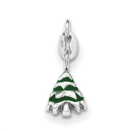 Sterling Silver Polished Enamel Christmas Tree Charm