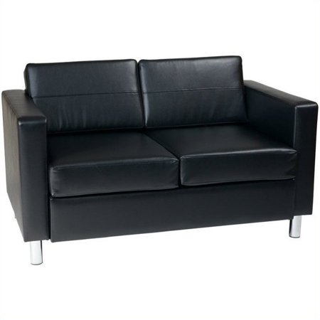 Avenue Six Pacific Loveseat  Black  Faux Leather Vinyl Fabric