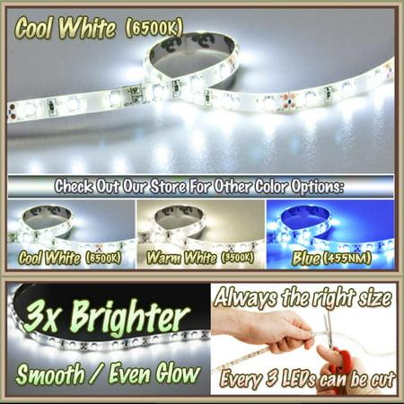 Kapsco Moto 16.4' Feet Cool White 300 LEDs Light SMD3528 On/Off Switch Control Kit 110V Plug - LED Strip Lighting Reading Strip Night Lamp Bulb Accent Waterproof 3528 SMD Flexible DIY 110V-220V - image 3 of 6