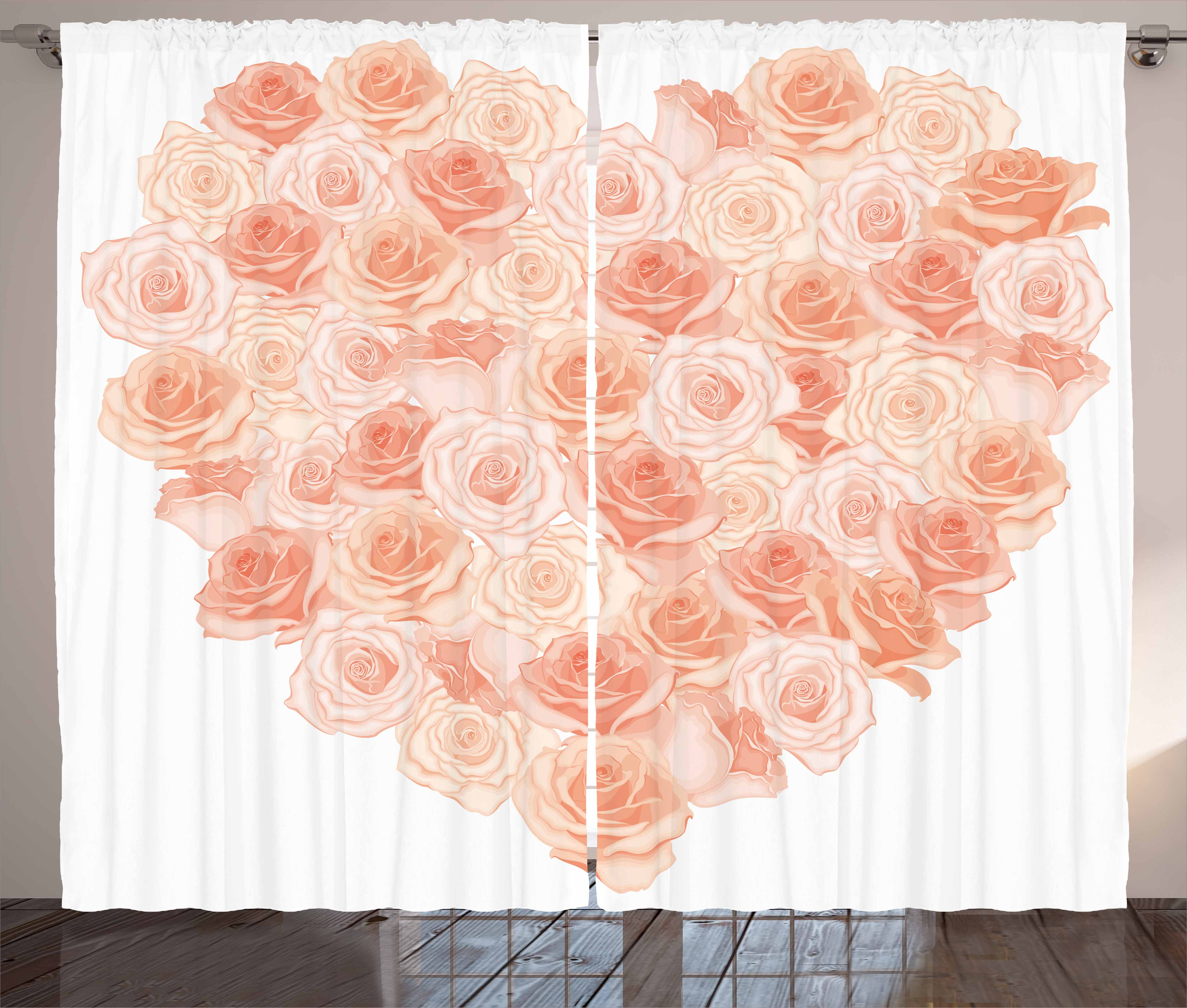Peach Curtains 2 Panels Set Valentines Day Inspired Heart Shaped