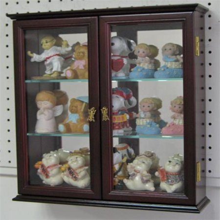 - Wall Mounted Curio Cabinet / Wall Display Case Shadow Box with glass door, Solid wood, CD05C-MA