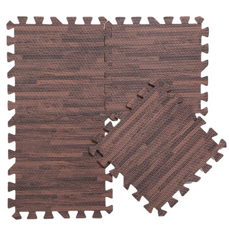 New Show Floor (Dilwe 9 PCS Wood Grain Floor Mat Thick Foam Interlocking Flooring Tiles with Borders for Home Office Playroom Basement Trade)
