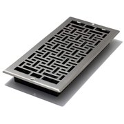 "Decor Grates 6"" x 14"" steel plated brushed nickel finish oriental design wall register"