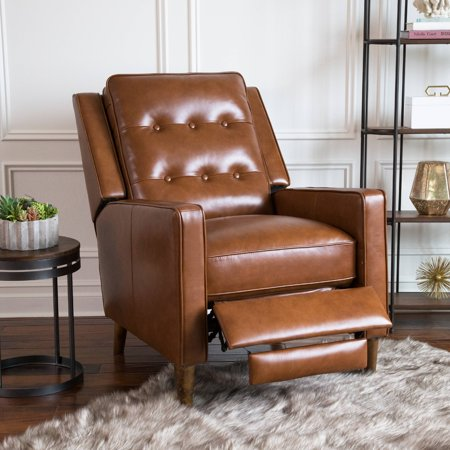 Leo Mid Century Leather Pushback Recliner
