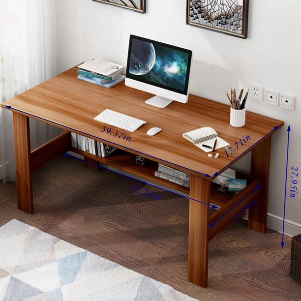 PUYANA Brown Computer Desk Study Writing Table for Home Office with and Keyboard Tray Computer Office Desk PC Laptop Table Study Work-Station Home Office Furniture (39.4*17.7*28.3 in)