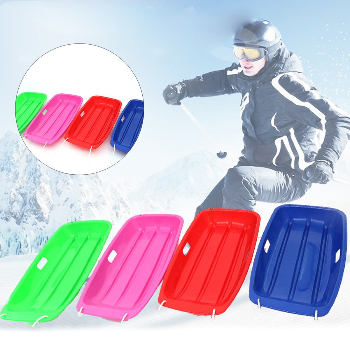 Vicetion Snow Sled Board for Kids and Adults Portable Plastic Skiing Boards Outdoor Winter Skiing Sled with Handle Snow Skiing Boards Stomp Pad Grass Sled