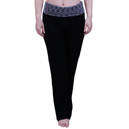 Hde Womens Color Block Fold Over Waist Yoga Pants Flare Leg Workout Leggings  Black Grey Space Dye  X Large
