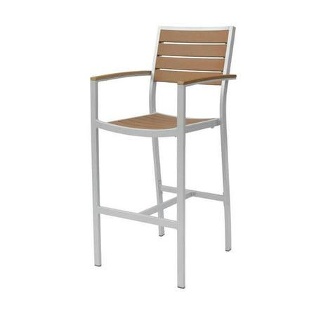 Source Contract SC-2405-173-SLV-TEK Napa Bar Arm Chair, Silver & Teak ()