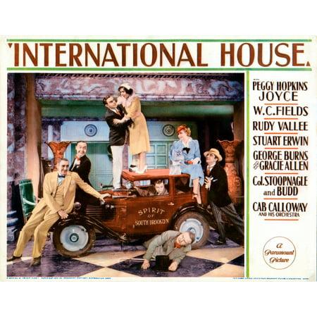 International House Us Lobbycard From Left Lumsden Hare Franklin Pangborn George Burns Gracie Allen Stuart Erwin W C Fields Peggy Hopkins Joyce Bela Lugosi 1933 Movie Poster - Pangborn Design