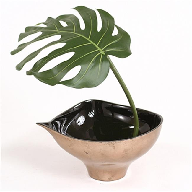 Distinctive Designs 2703 Single Silk Philodendron Leaf with Black Rocks in Bronze Finish Leaf Bowl