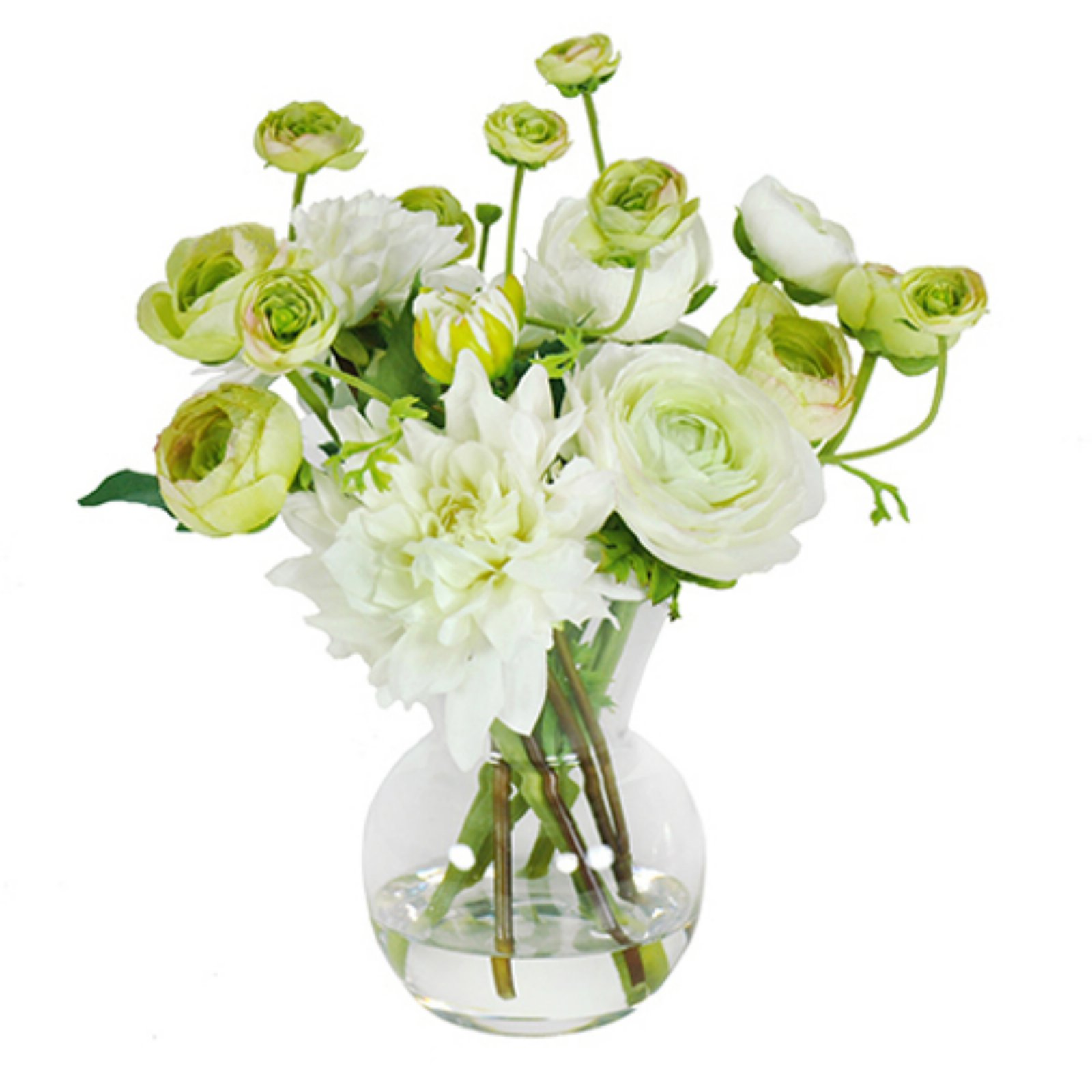 Jane Seymour Botanicals 11 in. Dahlias and Ranunculus in Glass Vase Silk Flower Arrangement