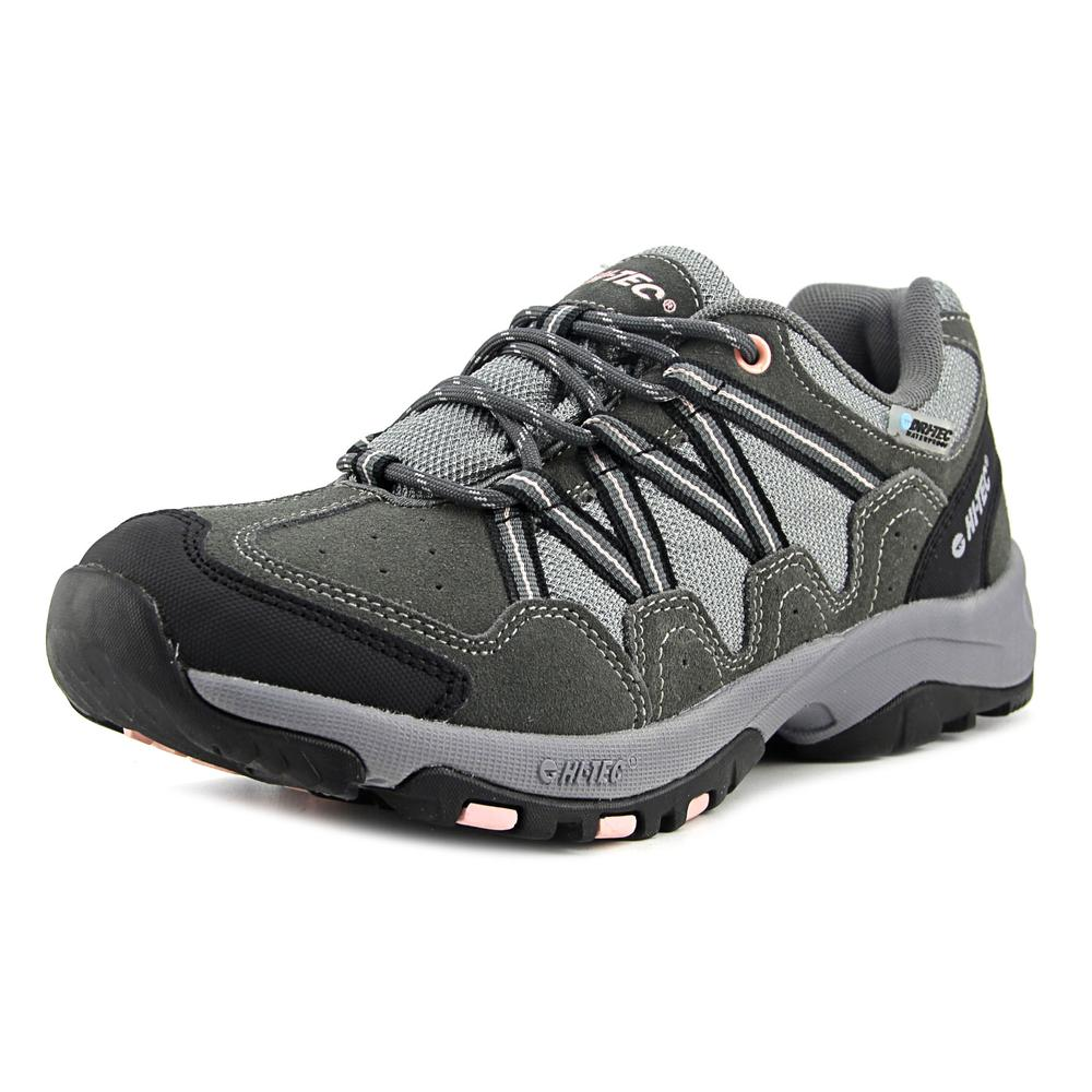 Hi-Tec Florence Low Wp Women Round Toe Leather Gray Trail Running by Hi-Tec