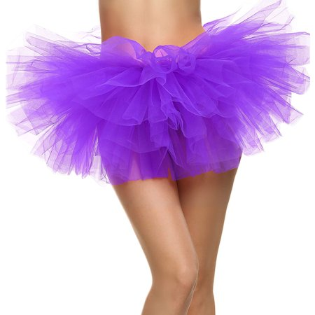 Classic 5 Layers Tulle Tutu Skirt Costume Party Cosplay Tutus for Women Purple - Womens Tutu