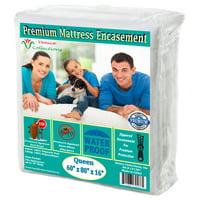 Premium Waterproof & Bed-Bug Proof Mattress protector 150 GSM Fabric Zippered Encasement Cover Queen