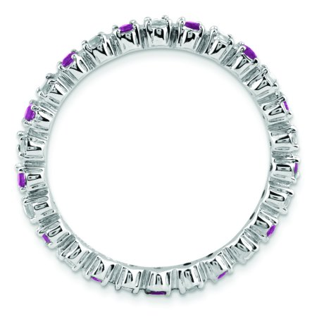 Sterling Silver Stackable Expressions Amethyst & Diamond Ring Size 7 - image 1 of 3