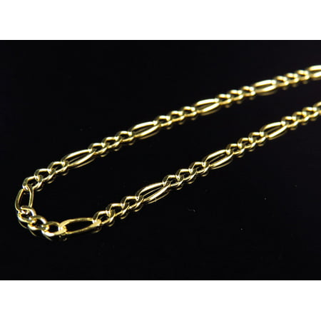 10K Yellow Gold 2MM Wide Figaro Chain Necklace 16